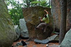 Rock Climbing Photo: AW on 'Crimp Problem' on a hot n' humid july after...