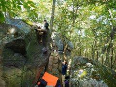 Rock Climbing Photo: Super fun, heady topout, photo Matt.