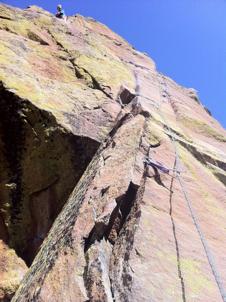 5th Pitch - Three pin crux followed by an exposed traverse.