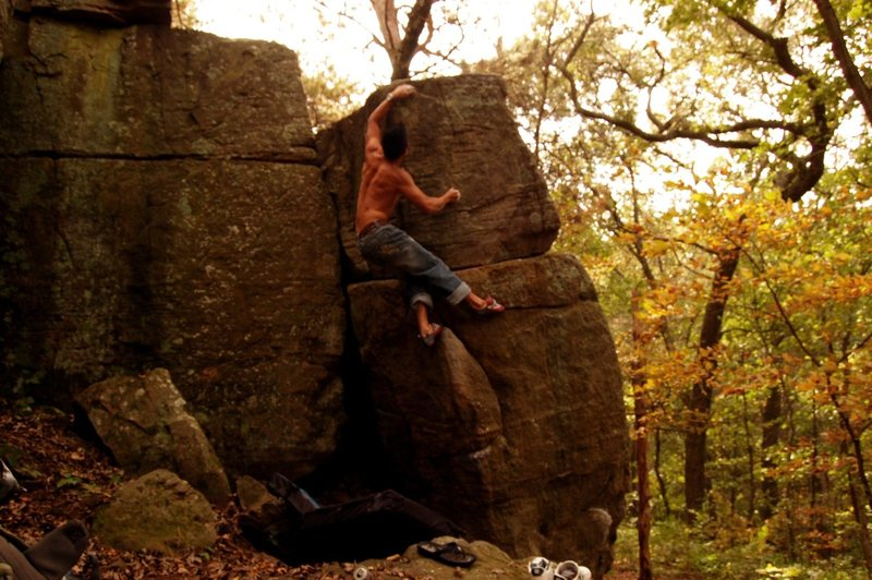 Rock Climbing Photo: pulling towards the top out