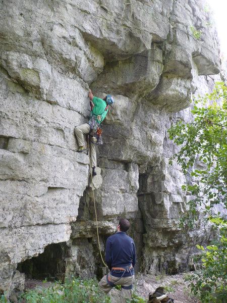 Rock Climbing Photo: John K. on failed OS attempt.