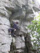 Rock Climbing Photo: Stew flashing on pink point after John kindly plac...