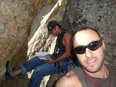 Rock Climbing Photo: The notch in the Obituary Column with a two bolt a...