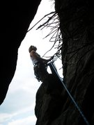 Rock Climbing Photo: Table Rock, Cave route, Spencer belays after 1st t...