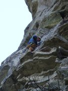 Rock Climbing Photo: Ship Rock, Hindu Kush, Carl above !st pitch crux, ...