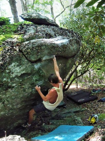 "Steve on ""Biggie Good"" (V0+) On the Earth Boulder."