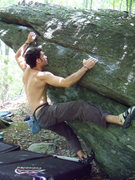 """Rock Climbing Photo: Aaron on """"Woodgrain"""" (V2-3) in The The A..."""