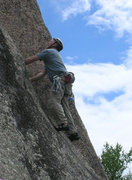 Rock Climbing Photo: Chris pulling up to the corner and final 20'