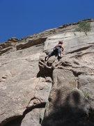 Rock Climbing Photo: Nan leading Zamboni Man, just below the first crux...
