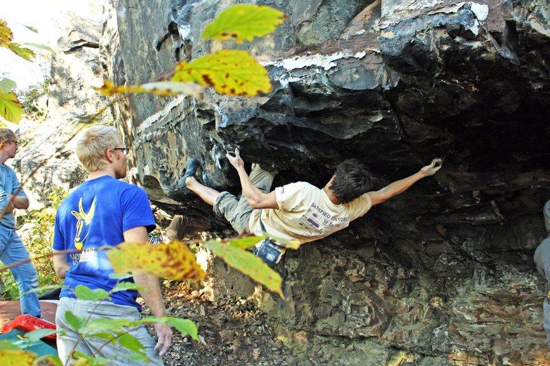 Rock Climbing Photo: Noah finding a knee bar