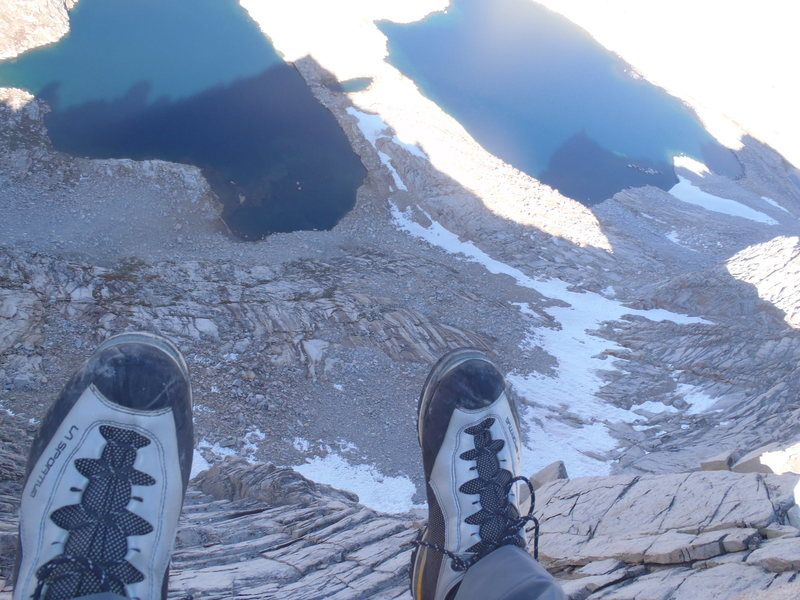 View from the summit straight down to Royce Lakes