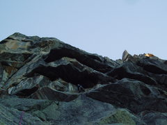 Rock Climbing Photo: Pitch 3, from here the route goes up and right thr...