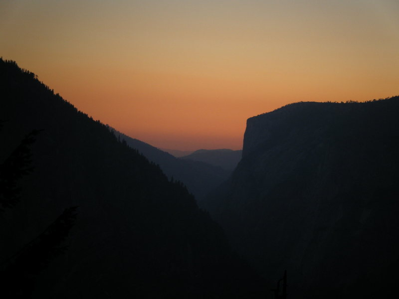 Sunset on Yosemite Valley as seen from the base of Half Dome.