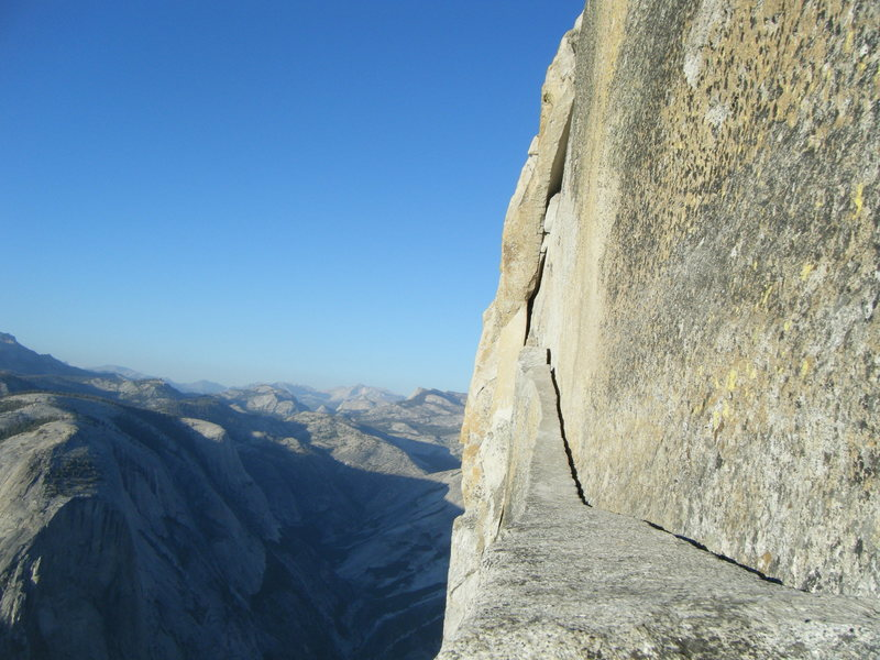 Thank God Ledge.  P21, Regular Route on the Northwest face of Half Dome.