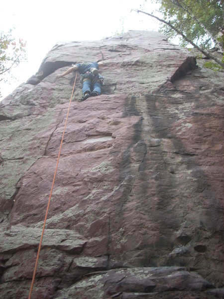 Rock Climbing Photo: At the ledge before the crux, HEFTY run out. Actua...