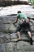 Rock Climbing Photo: Patrick closing in on the Gunky roof crack above.