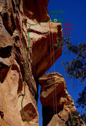 Rock Climbing Photo: Moon Juice in red with draws hanging...
