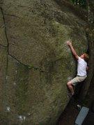 Rock Climbing Photo: me on Slobadon at Mckenzie Pond, NY