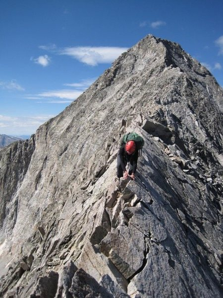 Me crossing the knife edge - and no I didn't stand up and walk across.