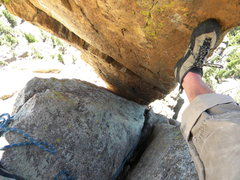 Rock Climbing Photo: View down the chimney of the Wolf Tooth.