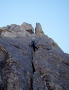 Rock Climbing Photo: The excellent 5.9 crack on pitch 2.
