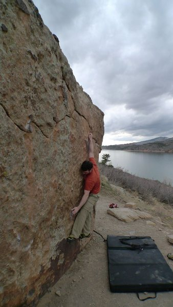Rock Climbing Photo: Tom on My Two Cents V2/3 at Horsetooth Resevoir