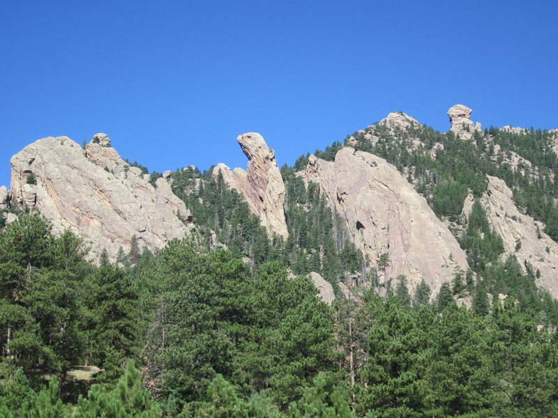 Rock Climbing Photo: On the approach, Maiden in center, Devil's Thumb o...