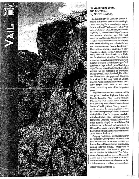 Rock Climbing Photo: Rock & Ice 1993 Vail article, page 1.