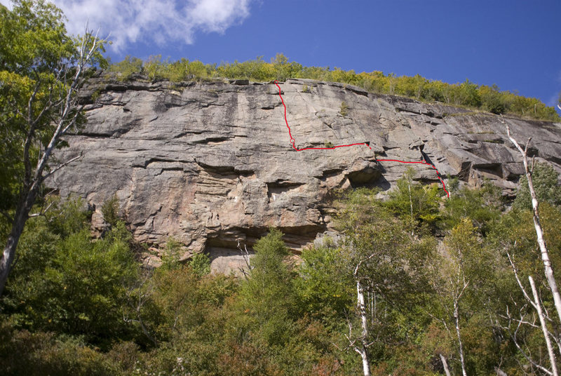 Rock Climbing Photo: The El with belays marked. To descend by rappel, g...