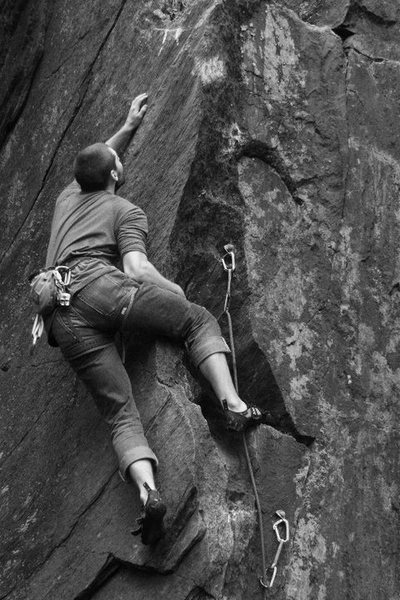 Rock Climbing Photo: Jeff creeping up on the send...