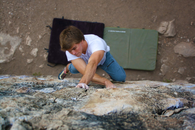 Colton Eaker on the Triangle Boulder