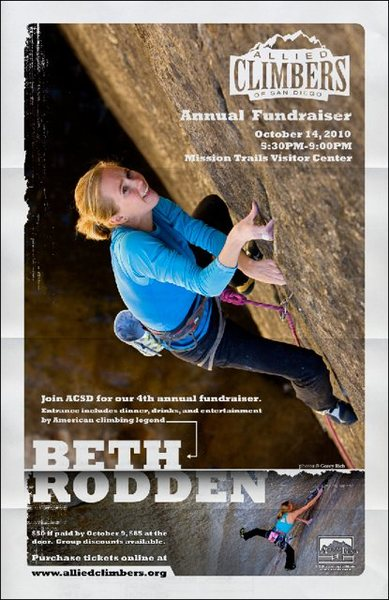 Beth Rodden is coming to our ACSD fundraiser.