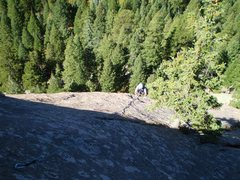 Rock Climbing Photo: Brian on the upper part of P2, where the bolts get...