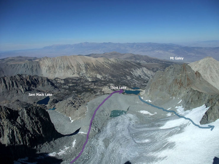 Palisade Glacier and my approach/descent routes
