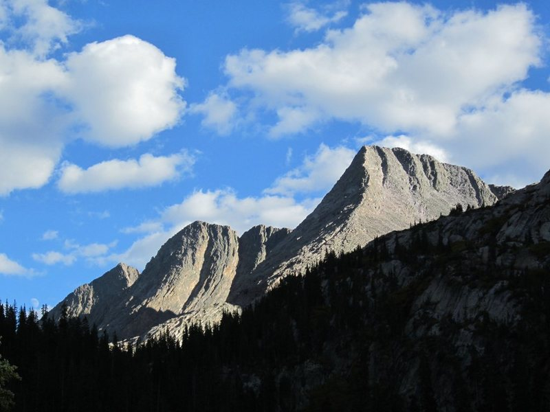 The Trinity Peaks, viewed from the northwest.  West Trinity Peak is on the right.  Photo by [[Steve.]]106567872