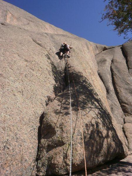 Rock Climbing Photo: Starting up the variation....