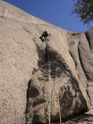 Rock Climbing Photo: Starting up the variation....