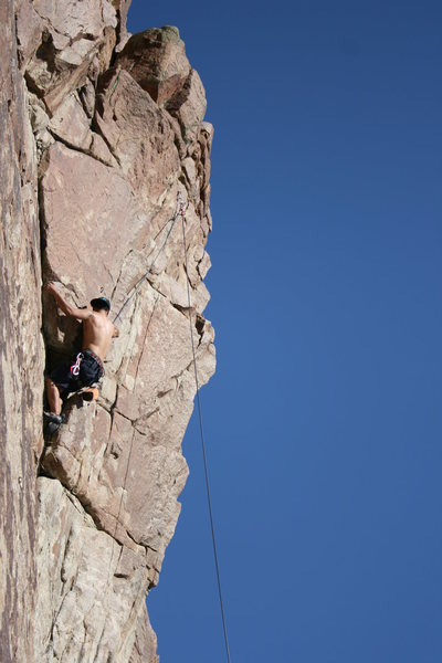 """Moving past the """"crux"""" (a lie-back on a little arete)"""