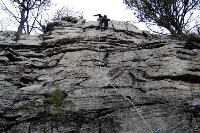 Rock Climbing Photo: Top of Black Rain (5.9-).  Shows the third, fourth...