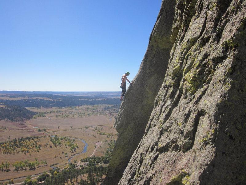 Rock Climbing Photo: Unknown climber finishing Soler Eclipse. Taken fro...
