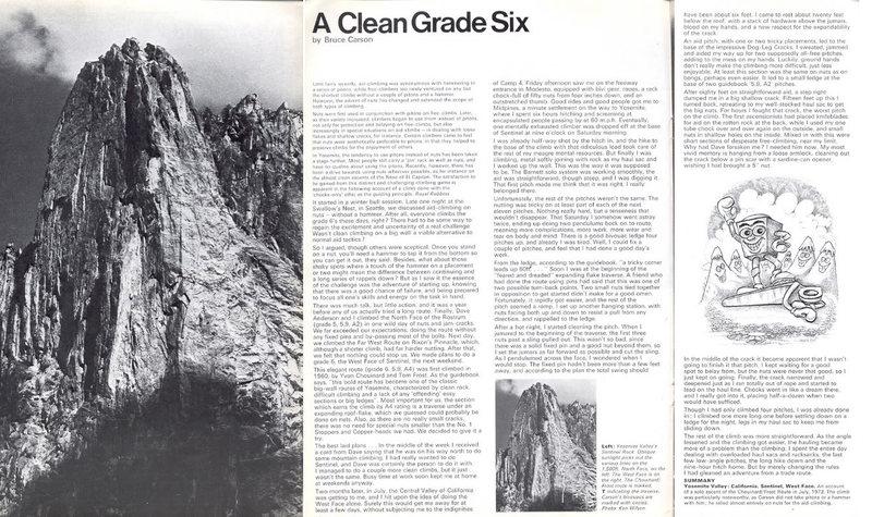 A Clean Grade Six- article by Bruce Carson in Mountain 33.