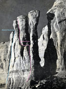 Rock Climbing Photo: Webster/ Becker Var. in relation to Original Route...