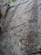 Rock Climbing Photo: Closer look of wall at Raspberry route, between th...