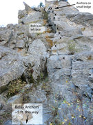 "Rock Climbing Photo: ""Toe The Line,"" P1 beta photo with bolts..."