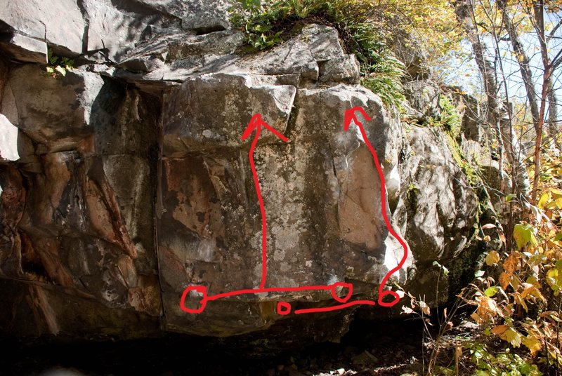 Rock Climbing Photo: The right line is Grease the Track and the left li...