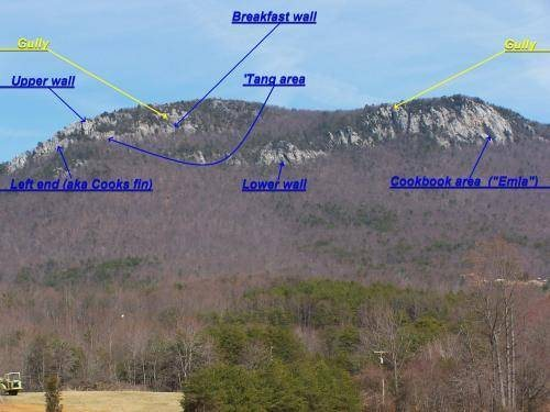 An old pic of mine that I copied from another website.  The areas are as marked. The cliff is southfacing.
