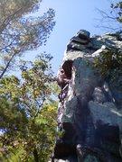Rock Climbing Photo: Vinny, heading into the crux.