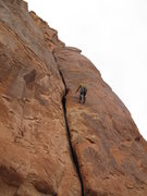 Rock Climbing Photo: View of the first pitch. James Stover rapping down...