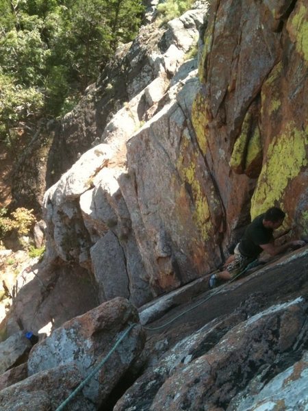 Rock Climbing Photo: Cleaning gear at the dihedral