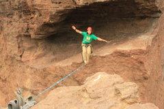 Rock Climbing Photo: Me slacklining the monkey line.